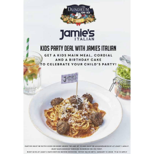 Kid's party deal at Jamies Italian Dundrum